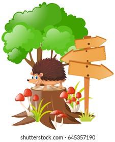 Wooden signs and hedgehog on stump tree illustration