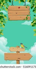 Wooden signs with leaf and bird on blue background. Vector illustration.