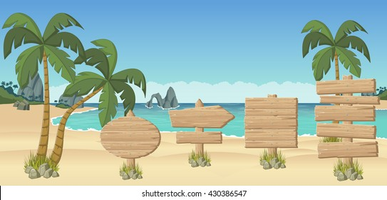 Wooden signs on a beautiful tropical beach