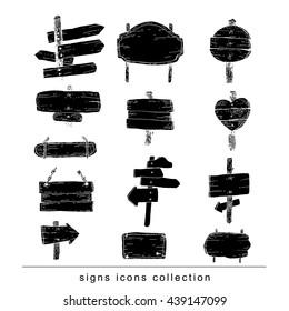 Wooden signs set . Vector illustration. black