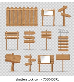 Wooden signs, signages and direction arrows vector isolated icons set