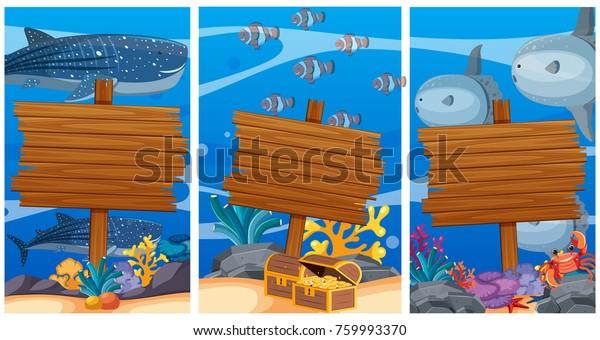Wooden Signs Under Ocean Sea Animals Stock Vector (Royalty Free