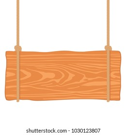 Wooden singboard hanging on ropes. Illustration of wood board