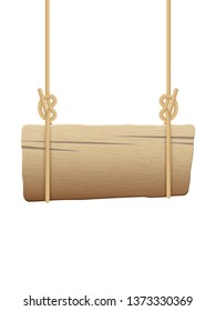 Wooden singboard hanging on ropes. EPS 10