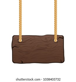 Wooden singboard on rope. Blank cartoon wood sign hanging on ropes. Vector illustration.