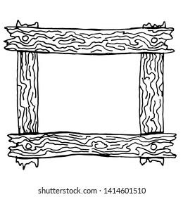 Wooden sketch frame. Vector illustration.