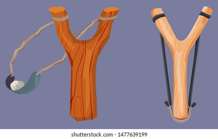 Wooden slingshot with stone bullet