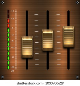 Wooden sound mixer. Slider toggle switch.Hi-End User Interface Elements: Buttons, Switchers, On, Off, Player, Audio, Video: Play, Stop, Next, Pause, Volume, Equalizer, Power, Screen, Track.