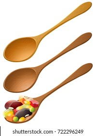 Wooden spoons with mixed fruit illustration