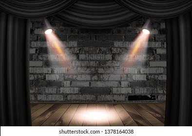 Wooden stage with black curtains and a white brick wall with spotlights, mock up. Vector illustration