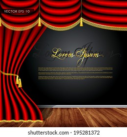 Wooden stage, luxury red curtains with decorative golden tassels and rims - beautiful vector background
