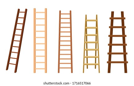 Wooden Stairs or Step Ladders for Domestic and Construction Needs Vector Set