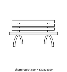 wooden standard bench, place for sitting outline