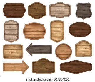 Wooden stickers, label collection. Set â??2 of various shapes wooden sign boards for sale, price and discount banners, badges isolated on white background. Vector realistic illustration.