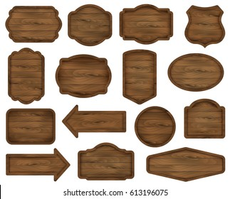 Wooden stickers, label collection. Set ?5 of various shapes wooden sign boards for sale, price and discount banners, badges isolated on white background. Vector realistic illustration.