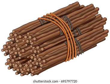 Wooden sticks in big bundle illustration