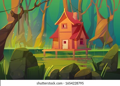 Wooden stilt house above swamp in forest. Abandoned shack stand on piles in deep wood, witch hut, computer game background, fantasy mystic nature landscape with marsh pond, Cartoon vector illustration