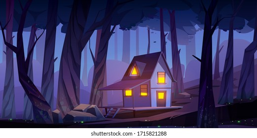 Wooden stilt house in night forest. Old shack with glow windows and terrace stand on piles in deep wood with fireflies around. Witch hut on fantasy game, mystic background, Cartoon vector illustration