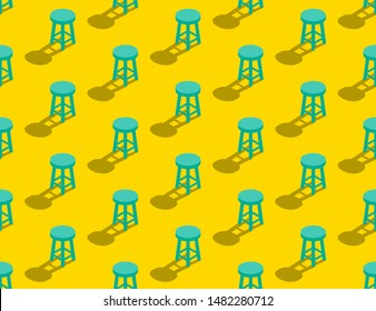 Wooden Stool 3D isometric seamless pattern, Furniture lifestyle concept poster and banner square design illustration isolated on yellow background with copy space, vector eps 10