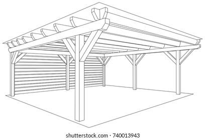Wooden storage space project for garden. Kind of shed or garage. Vector illustration.
