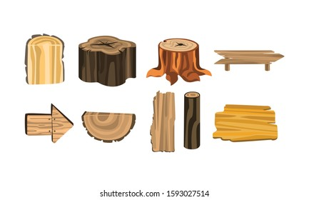 Wooden Stubs and Logs Vector Set. Firewood and Crust Isolated on White Background