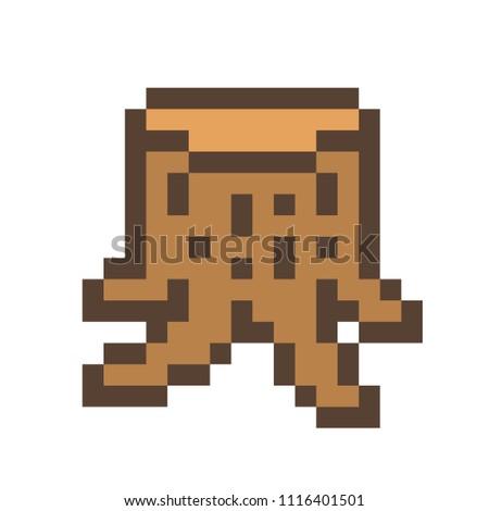 wooden stump 16 x 16 pixel art icon stock vector royalty free