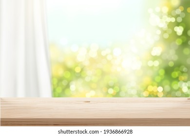 Wooden surface in front of blurry window and curtain in 3d illustration. Stage background for natural product display.
