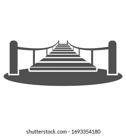 Wooden suspended bridge over the ravine icon in flat style.Vector illustration.