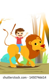 Wooden Sword Child Riding a Lion. Nature Background. Vectoral Illustration for Children Books, Magazines, Blogs.