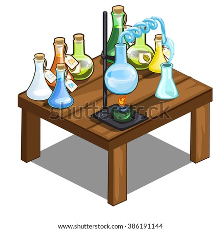 Wooden Table With Chemical Reagents. The Furniture In The Chemistry Lab.  Vector Illustration.