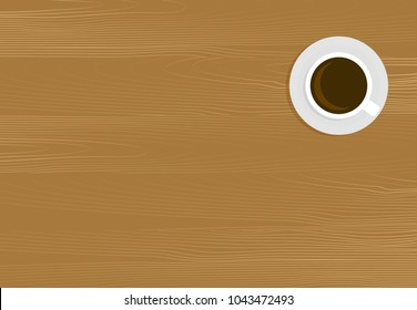 Wooden table with cup of coffee. Drink in cafe table mocha and espresso beverage. Vector illustration