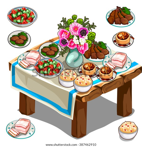 Wooden table with lots of delicious food. Vector illustration.