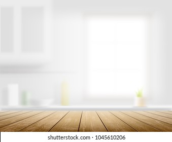 Wooden table on a defocused kitchen bench interior background. Stock vector illustration.