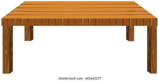 Wooden table on white background illustration