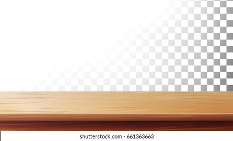 Wooden Table Top Vector. Isolated On Transparent Background