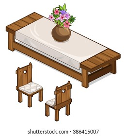 Wooden table and vintage chairs. Vector illustration.