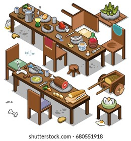 Wooden tables prepared for medieval dinner, including wine, fish, ham, eggs, salad and bread (isometric vector illustration)
