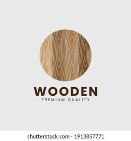 Wooden texture logo template vector illustration