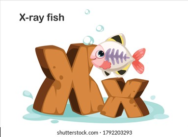 Wooden textured bold font alphabet X, X for X-ray fish