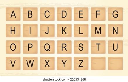 Wooden Tiles Alphabet Letters