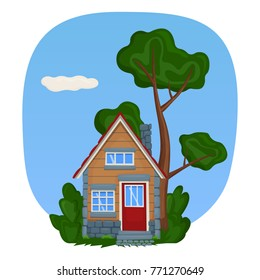 A wooden tiny house with stone trim. Vector illustration.