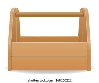 wooden tool box vector illustration isolated on white background