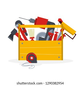 Wooden toolbox full of different equipment for repair and construction work. Professional instrument. Isolated vector illustration