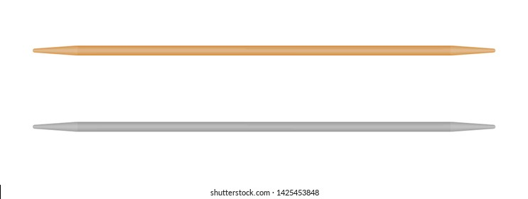 Wooden toothpick, Chinese food sticks. Isolated vector skewers on white background. Realistic illustration.