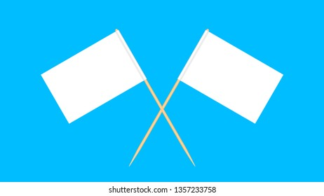 wooden toothpicks flags miniature isolated on blue background, toothpick flags rectangle blank or white, toothpick cross icon, toothpick flags for mini stick pointer message