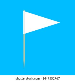 wooden toothpicks flags triangle miniature isolated on blue background, toothpick flags triangle blank or white, toothpick pin icon, toothpick flags for mini stick pointer message
