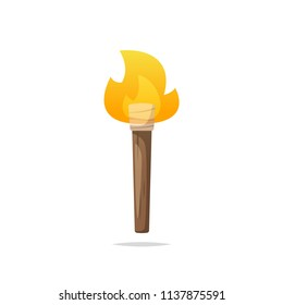 Wooden torch vector isolated