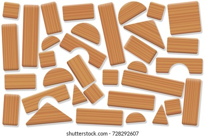 Wooden toy blocks, jumbled and mixed up wood pieces of different shapes - natural childhood building and leisure game. Isolated vector illustration on white background.