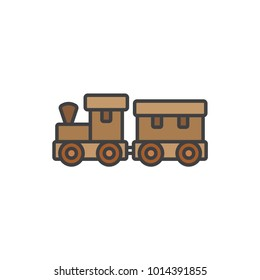 Wooden toy train flat line colored icon.