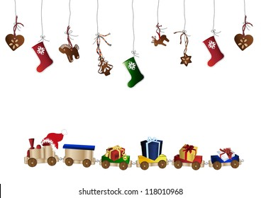 Wooden toy train and gingerbread cookies